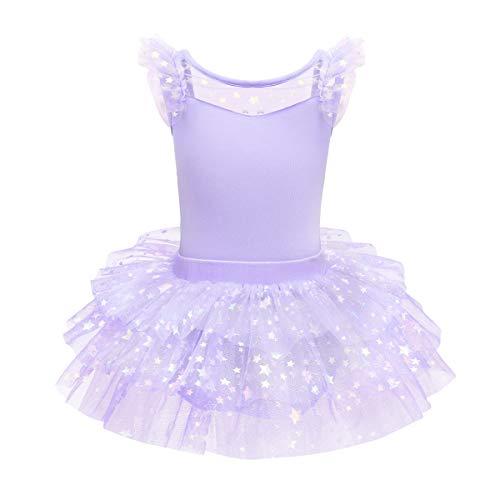 OBEEII Maillot de Danza Tutú Vestido de Ballet Leotardo Traje de Gimnasia Baile Sin Manga con Falda para Niña #Morado 9-10 Años