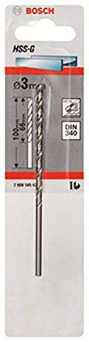 Bosch 2608595676 DIN340 Metal HSS-G Drill Bit, 3.0mm x 66mm x 100mm