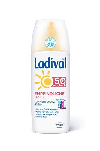 Ladival Empfindliche Haut Sonnenschutz Spray LSF 50+ – Parfümfreies Sonnenspray ohne Farb- und Konservierungsstoffe – wasserfest – 1 x 150 ml