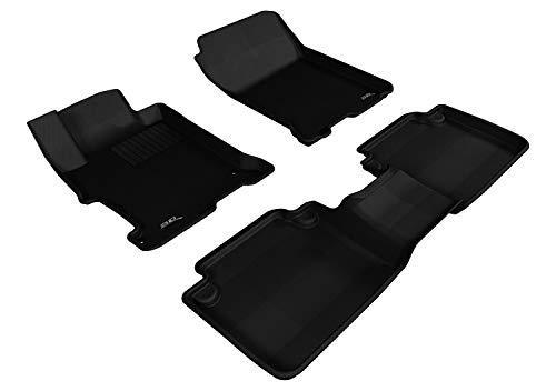 3D MAXpider L1HD04801509 Custom Fit All-Weather Kagu Series Floor Mats Black Complete Set for Honda Accord Sedan Models