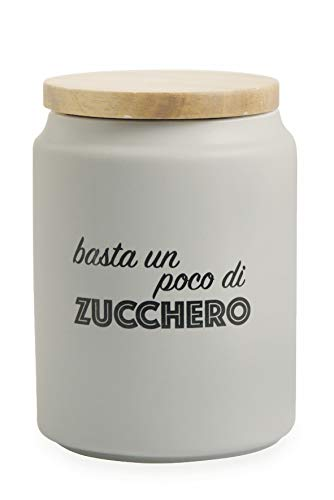Villa d'Este Home Tivoli Idee Barattolo Zucchero con Coperchio Bamboo, Grigio