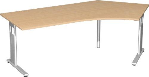 Schreibtisch Freiform 135° rechts, höhenverstellbar BxTxH 216,6x113x68-82cm