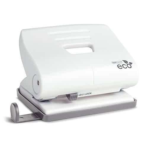 Rapesco eco - perforadora de 2 agujeros, fabricada en materiales reciclados, color blanco