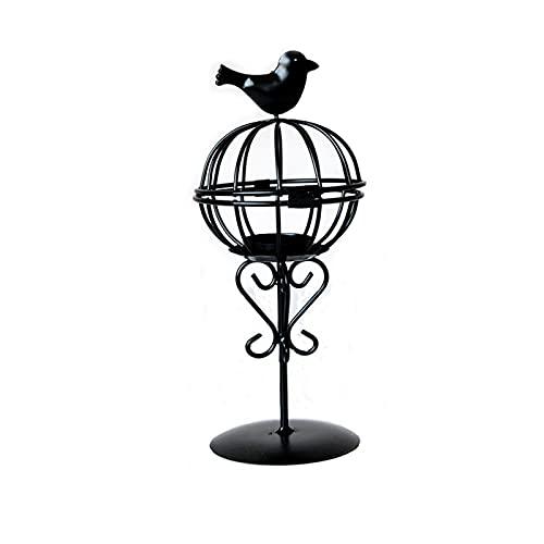 Qagazine La jaula ahueca hacia fuera el adorno de la vela, vela del sostenedor del faro del metal del estilo europeo que se coloca para la decoración del hogar