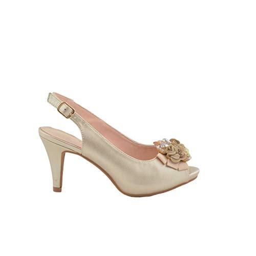 Sandalen für Party, Absatz, Blumenmotiv, Taupe, Braun - Taupe - Größe: 38 EU