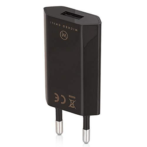 Wicked Chili PRO Series Power Supply - Ultra Slim - Adattatore USB per Telefono Cellulare, Tablet, eBook Reader, Smartphone (1000 mA, 100-240V) Nero