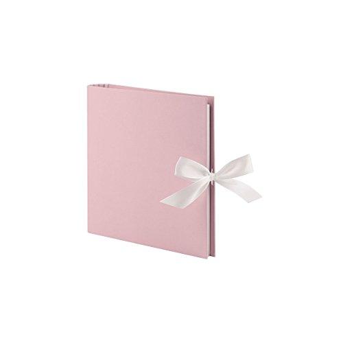 Rössler 13161150006 - Fotoringbuch, 23 x 21 cm, rosa mit Schleife, 50 weiße Seiten, 25 Blatt