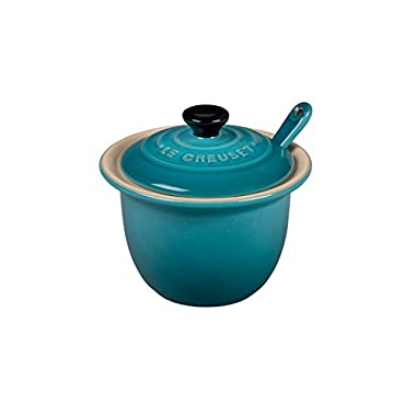 Le Creuset Stoneware Condiment Pot with Spoon, 6 3/4-Ounce, Caribbean