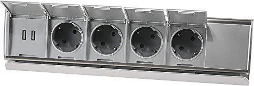 Regleta de 4 enchufes de acero inoxidable, 2 puertos USB, horizontal y vertical, 230 V, 3600 W