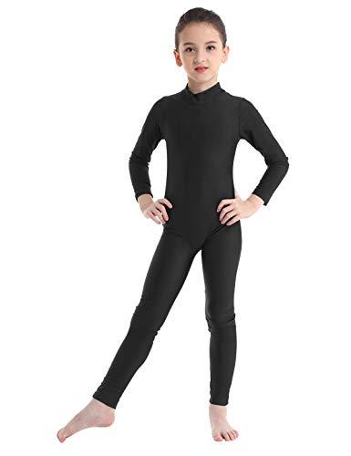 inlzdz Kinder Mädchen Lycra Langarm Tanzanzug Gymnastikanzug Ganzkörperanzug Catsuit Tanzbekleidung Kostüme 7-8 Jahre Schwarz