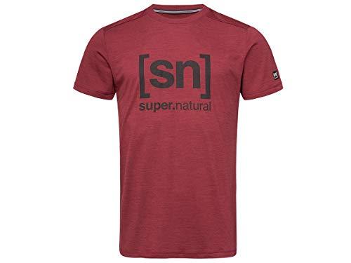 [エスエヌ スーパーナチュラル] Tシャツ ヨガ・メリノウール・アウトドアTシャツ メンズ SNM005240 Cabernet Melange/Jet Black Logo EU M (日本サイズL相当)