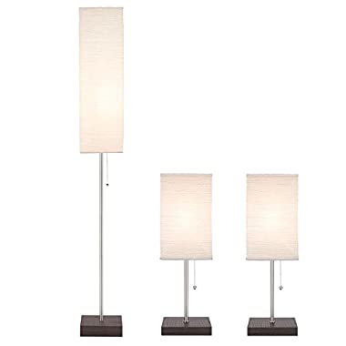 60 in. Floor and 19 in. Table Paper Shade Combo Lamp Set (3-Piece)