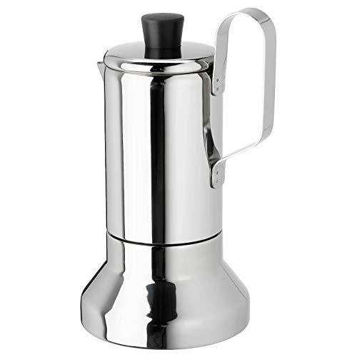 Espressokocher für Herd, Edelstahl, Produktgröße: Höhe: 22 cm, Durchmesser: 12 cm, Volumen: 0,4 Liter, Materialien: Griff: Edelstahl, Schraube/Rohr/Abdeckkappe: Edelstahl