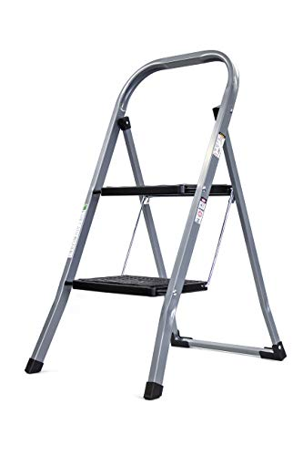 Brookstone BKH1318 2Step Ladder Holds up to 330 Pounds Durable Steel Frame Easily Folds for Storage NonSlip Textured Platform Silver