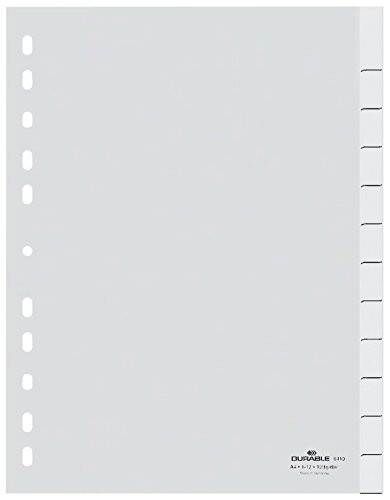 Durable 641002 Blanko-Register (aus PP, A4 hoch, volldeckend, 1-12 beziehungsweise Januar-Dezember) weiß