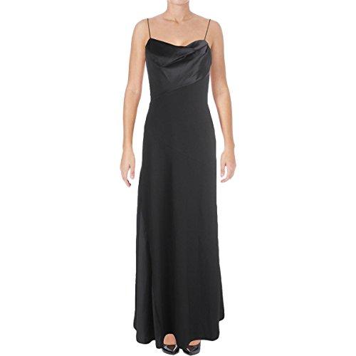 Vera Wang Women's Draped Mixed Media Sleeveless Full Length Gown Black Size 6