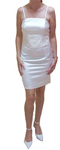 Kurzes Brautkleid (ButEtuStein) Etuikleid perfekt zum Standesamt /schmaler Schnitt etwa knielang creme / ivory Gr. 38