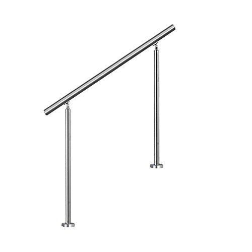 LZQ Edelstahl-Handlauf Geländer für Treppen Brüstung Balkon mit/ohne Querstreben (80cm, ohne Querstreben)