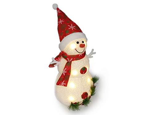 Gravidus Weihnachten Deko niedlicher Schneemann mit LED Beleuchtung ca. 42 cm Hoch mit Schal und Mütze, Weihnachtsdeko Tisch, Geschenke für Großeltern
