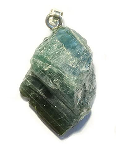 Turmalin grün Verdelith Edelstein Silber Rohstein Ketten Anhänger