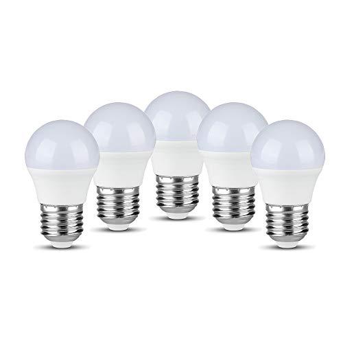 V-TAC E27 Golfball-LED-Glühbirne mit SMD Samsung Chip-Technologie 5,5 Watt (ersetzt 40W) Energiesparend Deko-Beleuchtung Warmweiss (3000K) Nicht Dimmbar / 5er Pack