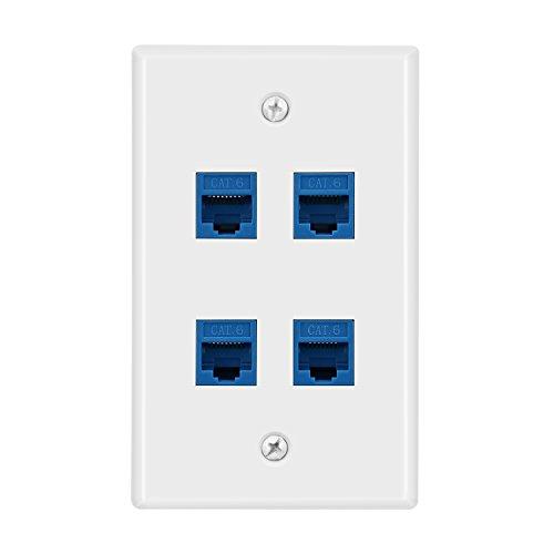 DBillionDa 4 Port Cat6 Wall Plate, Female-Female Ethernet Wall Plate 4 Port-Blue