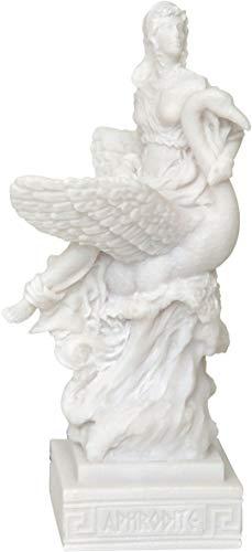 Ancienne déesse grecque Aphrodite/Vénus sur cygne (Statue décorative en albâtre 25 cm)