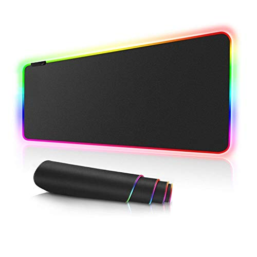 Mouse Pad RGB Oversized Glowing Led Extended Mouse pad Non-Slip Rubber Base Computer Keyboard Pad Mat Electric Race,31.5X 11.8in