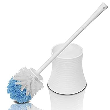 Leakproof Toilet Brush Set with Holder, White Pearl, Plastic - Chimpy - Bathroom Bowl Cleaner and Base, Good Grips Strong Bristles - Perfect for a Completely Clean Bathroom