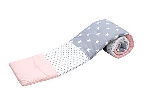 Baby Nestchen für Beistellbett (eckig) | Made in EU | ÖkoTex 100 | Schadstoffgeprüft | Antiallergisch | Baby Bettumrandung | Babynest | Rosa Grau | 170 x 25 cm | ULLENBOOM ®