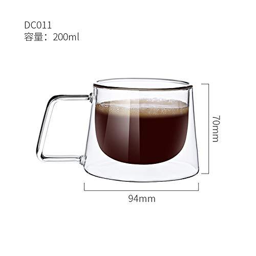 Heliansheng Taza de café de Doble Capa de Doble Capa de borosilicato de Vidrio Creativo, Taza de Moda, taza-N04-101-200ml-G1243