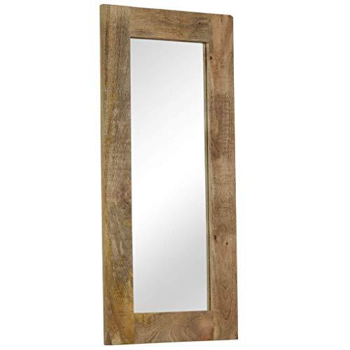 Festnight Miroir Mural Miroirs en Verre + Bois Massif Miroir Décoration pour Salon Miroir Salle de Bains Wodden miroirs 50 x 110 cm
