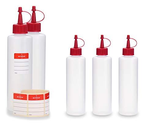 Octopus, 5 bottiglie HDPE in plastica da 250 ml, ad esempio per liquido per sigarette elettroniche,con cappucci a spruzzo/contagocce di colore rosso edetichette personalizzabili