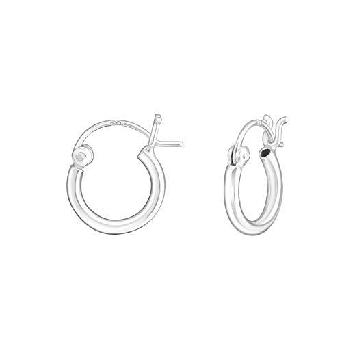 Bungsa© schlichte CREOLEN 925 SILBER für DAMEN - 2mm schmales Ohrringe Set - für Herren, Frauen & Mädchen - klassische, Sterling silberne Klapp-Creolen - Ohrringe zum Klappen silber