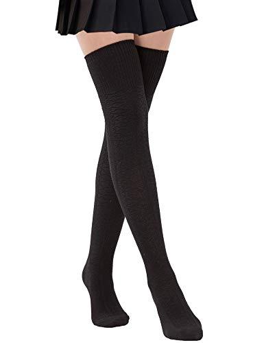 Dimore Damen Schenkel-hohe Socken über den Knie-Leg Wamers Winter warme Socken häkeln Einheitsgröße Schwarz