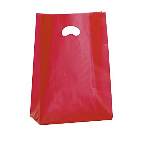 Propac Z-SHF35R Shopper in Plastica con Manico a Soffietto, 35 x 50 cm, Colore Rosso - Set di 100 Pezzi
