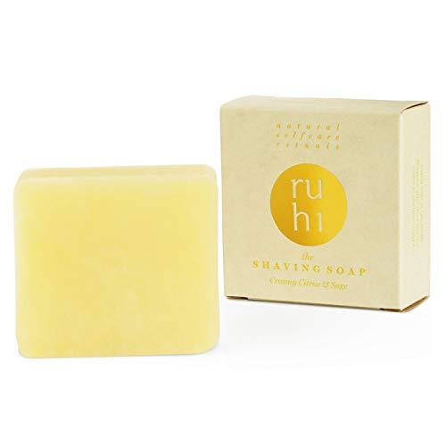 ruhi® 100% natürliche Rasierseife Citrus & Salbei 100g handgemacht in Deutschland [NEU] für Damen und Herren VEGAN ohne Palmöl mit Bio-Sheabutter | Shaving Soap creamy citrus & sage