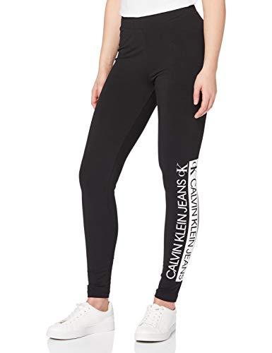 Calvin Klein Jeans Damen Mirrored Logo Leggings, Ck Schwarz, S