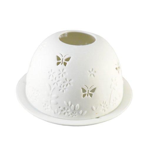 Hellmann Gewähr Starlight Teelichthalter Lithophanie Kerzenhalter, Schmetterlinge 114