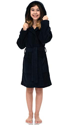TowelSelections Hooded Kids Bathrobe - Terry Cloth Robe for Boys and Girls, 100% Turkish Cotton, Made in Turkey, Navy, size5/S/M