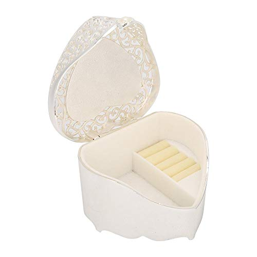Oumefar Jewelry Storage Box Oval Shape Europe Style Trinket Storage Organizer Necklace for Girls Women Earring Bracelets(Hollow heart shape)