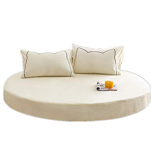 YFYJ 100% Baumwolle Bettlaken Runde Atmungsaktive Blätter Tagesdecke für Matratze Mit 2m/2.2m Durchmesser Komfortable, Gesunde Bettwäsche für Hotels Nicht-gerade Weiss 1.8m Durchmesser
