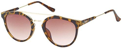 SQUAD - Gafas de sol redondas para mujeres tienen un color de montura havana y cristales color rojo, rosa y violeta