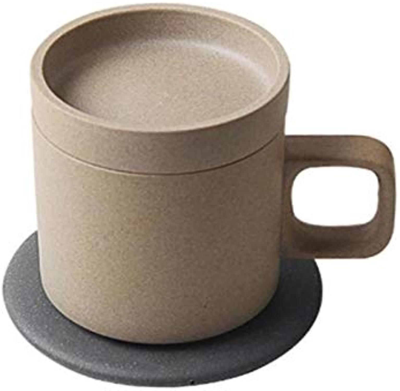 ETC KART Tasse à café chauffante 55 degrés électrique Intelligent sans Fil Charge Tasse à café chauffante Tasses céramique Japonaise thé Lait Tasse (Marron)