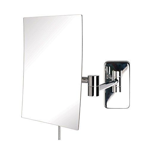 Jerdon JRT695C 6.5-Inch by 8.75-Inch Wall Mount Rectangular Makeup Mirror, Chrome Finish
