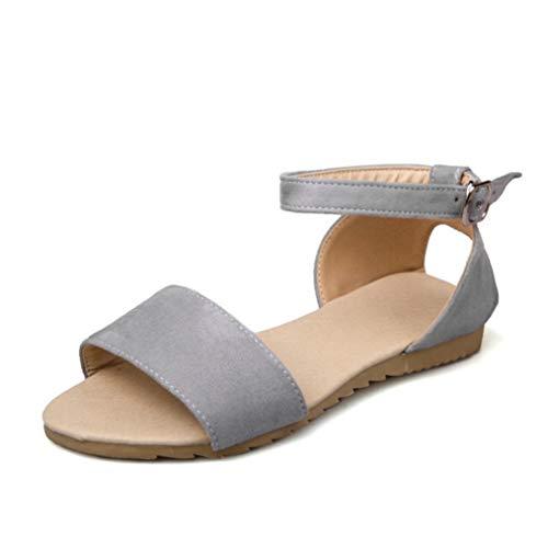 Las Mujeres Sandalias Planas de Verano de tacón bajo con Espalda Abierta Slingback Calzado Vacaciones Casual Playa Señoras Hebilla de Hebilla Zapatos de Correa