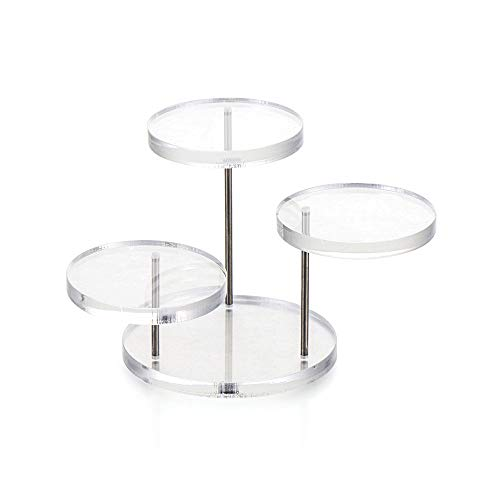 Présentoir à gâteaux en acrylique (3 plateaux transparents) pour décoration de fête