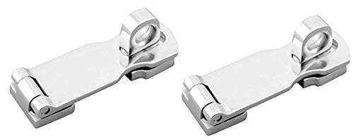 Two Marine Grade Stainless Steel Heavy Duty Door Hasps with Turning Padlock Eye Mount