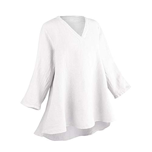 Match Point Women's High-Low Linen Tunic Top - V-Neck 3/4 Sleeve Pullover Shirt - White - XL