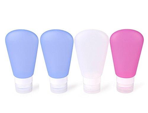 MUUZONING Sector Botellas de Viaje de Silicona, 100% BPA Gratis Recipientes rellenables portátiles a Prueba de Fugas para champú, Acondicionador,Loción, artículos de tocador(4 Unidades)